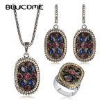 Blucome Hot Vintage Necklace Earrings Rings Set Turkish <b>Jewelry</b> Sets Flower Crystals Resin Women Lady Party Wedding <b>Accessories</b>