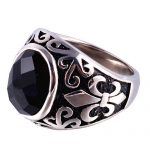 Black Onyx Stone Thick Band Ring Men In Stainless Steel Vintage Fluer De Lis <b>Antique</b> Silver Color Gothic Punk Cool Mens <b>Jewelry</b>