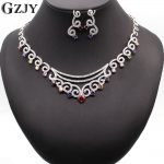 GZJY Bridal Dress <b>Accessories</b> <b>Jewelry</b> Sets White Gold Color Multicolor Zircon Necklace Earring <b>Jewelry</b> sets For Women