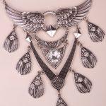 Angel wings bib necklace women biker bling <b>jewelry</b> gifts adjustable <b>antique</b> silver color YJ01 wholesale dropship