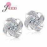 YAAMEL 925 Sterling Silver Crystal Stud Earrings For Women Fashion Luxury Cubic Zirconia Paved Wedding Earring <b>Jewelry</b> <b>Accessory</b>