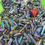 80gtitanium aura quartz rainbowl mineral specimen wire and wrapping <b>jewelry</b> DIY angel aura cluster specimens cured mineral point