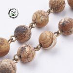 Frosted Natural Picture Jasper Handmade Beaded Chains, for Necklaces Bracelets Making, with Brass Findings, <b>Antique</b> Bronze, 39
