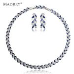 Madrry Copper Metal Luxurious <b>Jewelry</b> Sets Necklace&Earrings Cubic Zirconia Inlay Collier Stud Earring Bridal <b>Accessories</b> Bijoux