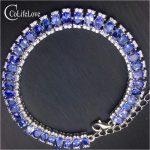 100% real <b>silver</b> tanzanite bracelet for wedding 3 mm * 4 mm natural VS tanzanite bracelet solid 925 <b>silver</b> tanzanite <b>jewelry</b>
