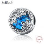 Suplush <b>Antique</b> 925 Sterling Silver Dazzling Daisy Meadow,Blue/Red CZ Flower Beads Fit Original Bracelets <b>Jewelry</b> Gift PSMB0929