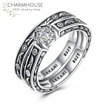 Solid Silver Sterling 925 Ring Sets for Women Vintage Style Engagement Ring with Cubic Zirconia <b>Antique</b> Silver <b>Jewelry</b> Anillos