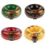 <b>Antique</b> Lock Box Storage <b>Jewelry</b> Round Case Wooden Gift Holder Case -Green