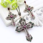Vintage Turkish Women Flower Necklaces <b>Jewelry</b> <b>Antique</b> Gold Color Resin Cross Rhinestone Cross Necklace Ethnic Sweater Pendant