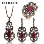 Blucome Vintage Crown Flower Pendant Necklace Green Resin Earrings Rings Women <b>Jewelry</b> Sets Turkish Bijuterias Love <b>Accessories</b>