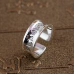 Thai style <b>antique</b> Sterling Silver Ring six words <b>jewelry</b> concave simple explosion of Buddhist opening new