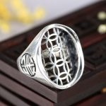 <b>Art</b> <b>Deco</b> 925 Sterling Sivler Semi Mount Engagement Ring 18x24mm Oval Cabochon Fine <b>Jewelry</b> Setting Adjustable Open