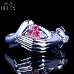 HELON Unique <b>Art</b> <b>Deco</b> <b>Jewelry</b> Solid 10K Solid White Gold 100% Genuine Natural Diamonds & Ruby Engagement Wedding Fine Ring Band