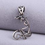 <b>Art</b> <b>Deco</b> Sterling Silver 925 Butterfly Irregular shape Women Semi Mount Pendant Clasp Clip Fine <b>Jewelry</b> Setting for Amber Agate