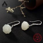 S925 Sterling Sliver <b>Antique</b> Jade Mosaic Earrings for Women High-end Fashion Wild Lotus Drop Earrings <b>Jewelry</b> for Female