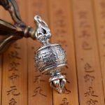 S925 sterling silver <b>jewelry</b> Buddhist Prayer Silver <b>Antique</b> Style Jin Gangchu talisman necklace wholesale