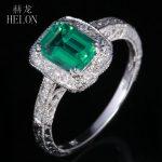HELON 7X5mm Emerald Solid 14K White Gold Engagement Wedding 0.8ct Emerald Pave 0.2ct Diamonds Fine Ring <b>Art</b> <b>Deco</b> Women's <b>Jewelry</b>
