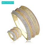 MECHOSEN Luxury Women Wedding <b>Jewelry</b> Set Wide Bracelet Bangle Ring 3 Tones Micro Paved Zirconia Pulseira Aneis Aros <b>Accessories</b>
