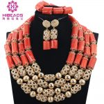 Real Coral Gold <b>Accessory</b> Dubai Party Engagement Fashion 4 Layers Coral Beads Necklace <b>Jewelry</b> <b>Jewelry</b> Set Free Shipping ABH418