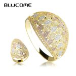 Blucome Luxury Wide Large Bangle Ring Set Wedding Party Big Bangles <b>Jewelry</b> Sets Full Rhinestones Copper Hand <b>Accessories</b> Anel
