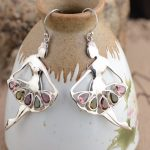 Emperor Gold <b>Jewelry</b> Line Tourmaline Earrings Silver Inlay Earrings Female High-End <b>Antique</b> Style Atmosphere