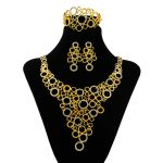 Full Crystal Big Necklace Earrings Sets Donut link Charms Dubai Italy <b>Jewelry</b> Sets Quality Gold Jewellery Fashion <b>Accessories</b>