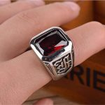 Square Large Red Zirconia / Black Onyx Stone Ring Men Thick Wide Band <b>Antique</b> Stainless Steel Vintage Punk Style Mens <b>Jewelry</b>