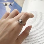 LBLS Genuine Real Ring Silver 925 Rings Women <b>Antique</b> Adjustable <b>Jewelry</b> for Women Black Flower Designer Sterling Silver Ring