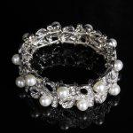 New Fashion <b>Jewelry</b> Plated Silver Pearl Openwork Bracelets Gift Summer Elastic Wrist Band Bride Wedding Party <b>Accessories</b> Bangle