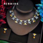 HIBRIDE Luxury Design Yellow Cubic Zircon Pendientes Mujer <b>Jewelry</b> Sets Women Bridal Dress <b>Accessories</b> Bijoux Mariage Gift N-520