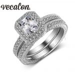Vecalon <b>Antique</b> <b>Jewelry</b> Wedding Band Ring Set for Women 4ct AAAAA Zircon Cz 10KT White Gold Filled Female Engagement ring