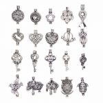 20pcs <b>Antique</b> Silver Small Pearl Beads Cage Pendant Locket Heart/Owl Animal Shape Essential Oil Diffuser <b>Jewelry</b> Necklace Making