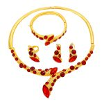 Italian Fashion Luxury 24 Gold <b>Jewelry</b> Sets Red Crystal Necklace Bracelet Ring Milan Charm Bride Earrings <b>Accessories</b> <b>Jewelry</b>