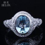 HELON Solid 10K White Gold 2.34ct 100% Genuine Blue Topaz Oval Cut 9x7mm Vintage <b>Art</b> <b>Deco</b> Engagement Wedding Ring Fine <b>Jewelry</b>