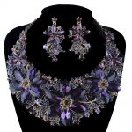 Statement Necklace Set Wedding Party Purple color rhinestone <b>Jewelry</b> sets For Brides Dress <b>Jewelry</b> <b>Accessories</b> Women Gift