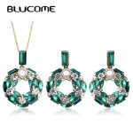 Blucome Shiny Green Crystal Wreath Shape <b>Jewelry</b> Sets Gold Color Chain Pendant Necklace Earrings Set Plant Flower <b>Accessories</b>
