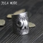 Fyla Mode Vintage Punk Ring Unique Carved <b>Antique</b> 999 Silver Elephant Lucky Rings for Women Boho Beach <b>Jewelry</b> 24mm 8.50G WT062