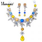 Viennois New Luxury Multicolored Crystals <b>Jewelry</b> Sets for Women Silver Color Flower Necklace Earrings Set Party <b>Accessories</b>