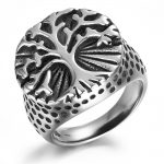 Tree of Life Titanium Stainless Steel Man Signet Ring <b>Antique</b> Silver Punk Rock Hip Hop Biker Band Vintage <b>Jewelry</b> QMHJE DAR315