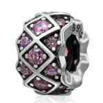 Pink CZ Zircon Micro Pave Rhombus Pattern Large Hole <b>Antique</b> 925 Sterling Silver European Charm Beads <b>Jewelry</b> Findings SZPB216