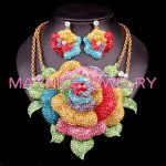 Fashion Bridal <b>Jewelry</b> Sets Wedding Necklace Earring set For Brides Party <b>Accessories</b> Big Flowers Costume Decoration Gift Women