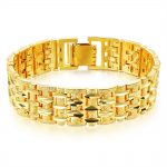 Men's Bracelet Gold Filled Chunky Chain Bracelets Wrist Link Thick <b>Jewelry</b> Male Gift Carved Mesh <b>Accessories</b> Free