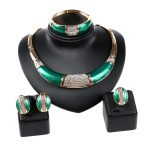 Hot sale Full Rhinestone Green african beads <b>jewelry</b> set wedding Party dress <b>accessories</b> fashion costume Necklace <b>jewelry</b> sets