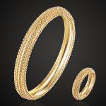 Zlxgirl <b>jewelry</b> cubic zircon Bangle & Rings Sets For Wedding <b>Jewelry</b> Women's Gold-color Bangle Rings <b>Accessory</b> Sets 2201100196