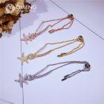 OMENG 925 sterling silver micro-zircon starfish bracelet temperament adjustable bracelet <b>jewelry</b> <b>accessories</b> female OSL040