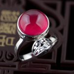 Red corundum ring S925 silver inlaid silver <b>antique</b> crafts handmade <b>jewelry</b> opening style female models