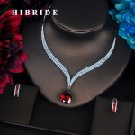 HIBRIDE Luxury Red Water Drop Cubic Zirconia Women <b>Jewelry</b> Sets Necklace Set Wedding Bride Dress <b>Accessories</b> Party Show N-372