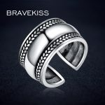 BRAVEKISS <b>Antique</b> Silver Open Adjustable Rings Plant Leaves Wide Ring Band Women Men Party Rings 925 Finger <b>Jewelry</b> BLR0318