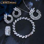 CWWZircons 4 Pcs Leaf Shape New Fashion CZ Necklace Earring Bracelet And Ring Sets Famous Brand <b>Jewelry</b> Womens <b>Accessories</b> T011