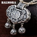 BALMORA 990 Pure Silver Hollow Pendants for Women Mother Vintage Thai Silver <b>Jewelry</b> Ball <b>Accessories</b> Blessed Gift SY13591
